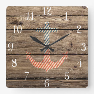 Hipster Stripes Anchor Rustic Wood Photo Print Square Wall Clock