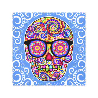 Hipster Sugar Skull Art Canvas Print