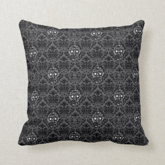 Hipster sugar SKULL BAROQUE pattern black Cushion