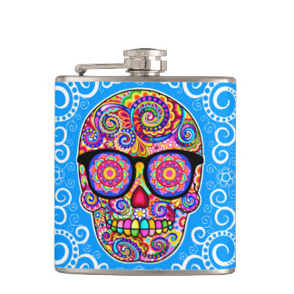 Hipster Sugar Skull Flask - Day of the Dead Art