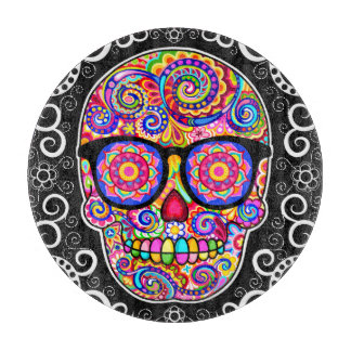 Hipster Sugar Skull Glass Cutting Board - Colorful