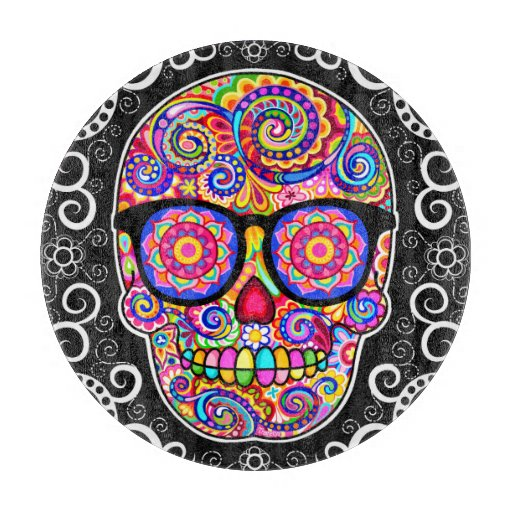 Hipster Sugar Skull Glass Cutting Board - Colorful