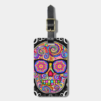 Hipster Sugar Skull Luggage Tag