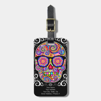 Hipster Sugar Skull Luggage Tag - Customize it!