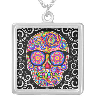 Hipster Sugar Skull Necklace - Day of the Dead