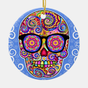 Hipster Sugar Skull Ornament - Day of the Dead