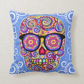 Hipster Sugar Skull Pillow - Day of the Dead Art