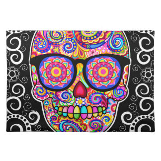 Hipster Sugar Skull Placemat - Day of the Dead