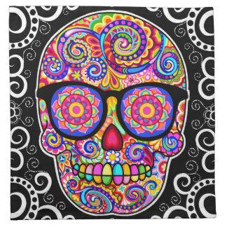 Hipster Sugar Skulls Cloth Napkins Set of 4