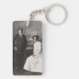 Hipster & swag couple Double-Sided rectangular acrylic key ring