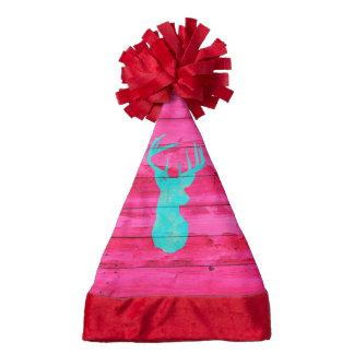 Hipster Teal Blue deer antlers neon Pink  Wood Santa Hat