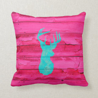 Hipster Teal Blue deer head Hot Pink Vintage Wood Cushion