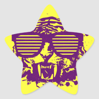 Hipster Tiger Star Sticker