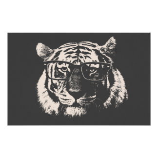 Hipster Tiger With Glasses Customized Stationery