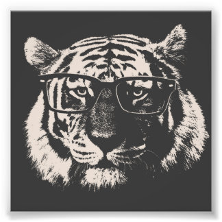 Hipster Tiger With Glasses Photo Print