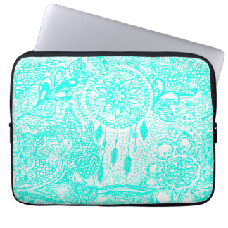 Hipster turquoise dreamcatcher floral doodles laptop sleeve