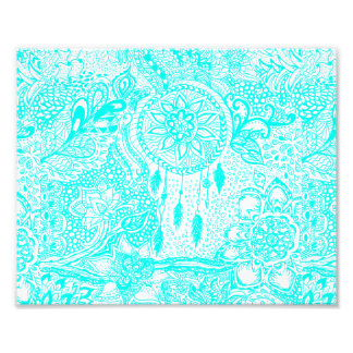 Hipster turquoise dreamcatcher floral doodles photo print