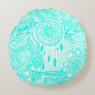 Hipster turquoise dreamcatcher floral doodles round cushion