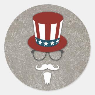 Hipster Uncle Sam Round Sticker