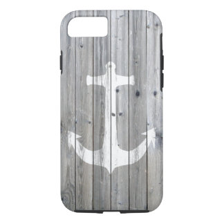 Hipster Vintage White Nautical Anchor on Gray Wood iPhone 8/7 Case