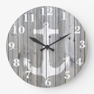Hipster Vintage White Nautical Anchor on Gray Wood Large Clock