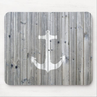 Hipster Vintage White Nautical Anchor on Gray Wood Mouse Mat