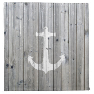 Hipster Vintage White Nautical Anchor on Gray Wood Napkin