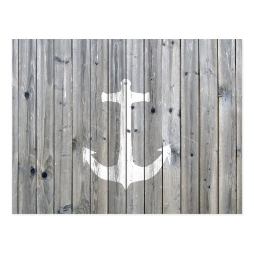 Hipster Vintage White Nautical Anchor on Gray Wood Postcard