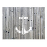 Hipster Vintage White Nautical Anchor on Grey Wood