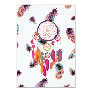 Hipster Watercolor Dreamcatcher Feathers Pattern Custom Invite