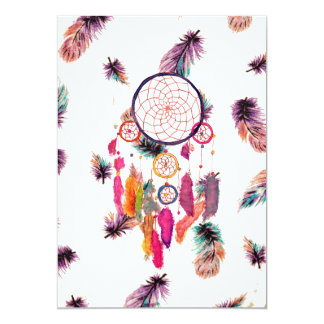 "Hipster Watercolor Dreamcatcher Feathers Pattern 5"" X 7"" Invitation Card"