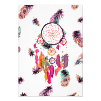 Hipster Watercolor Dreamcatcher Feathers Pattern Invitations