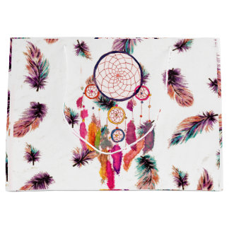 Hipster Watercolor Dreamcatcher Feathers Pattern Large Gift Bag
