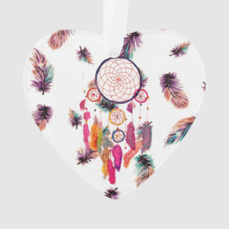 Hipster Watercolor Dreamcatcher Feathers Pattern Ornament
