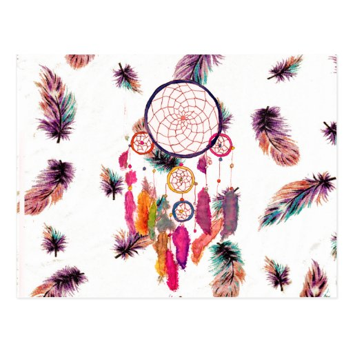 Hipster Watercolor Dreamcatcher Feathers Pattern Post Card