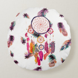 Hipster Watercolor Dreamcatcher Feathers Pattern Round Cushion