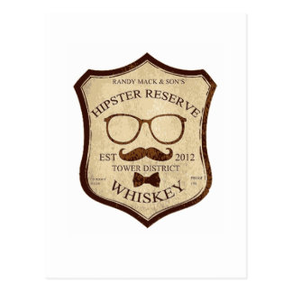 hipster whiskey logo postcard