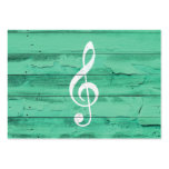 Hipster White Music Note Girly Turquoise Wood Large Business Cards (Pack Of 100)