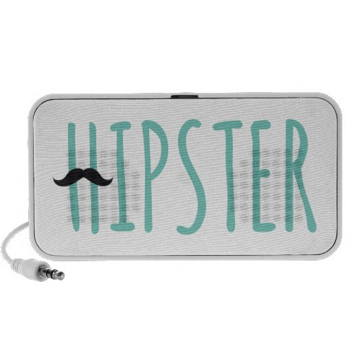 hipster, word art, text design with mustache laptop speakers