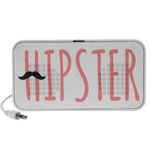hipster, word art, text design with mustache portable speaker
