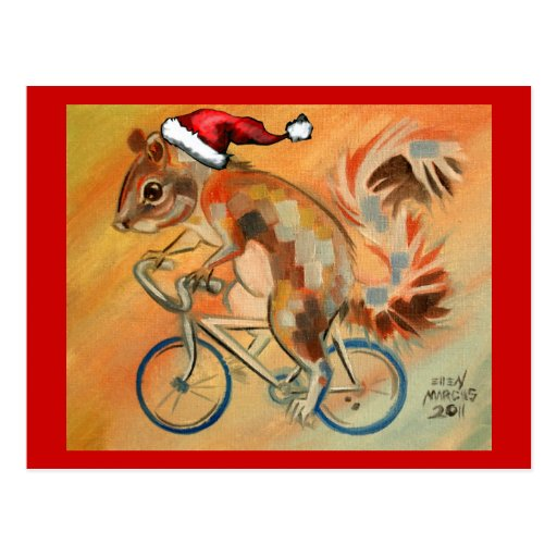 Hipster X-Mas Squirrel Post Card