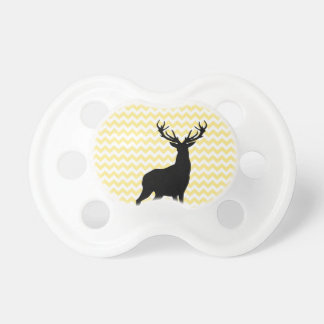 Hipster Yellow Chevrons with Deer Silhouette Baby Pacifiers