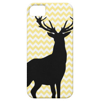 Hipster Yellow Chevrons with Deer Silhouette Barely There iPhone 5 Case