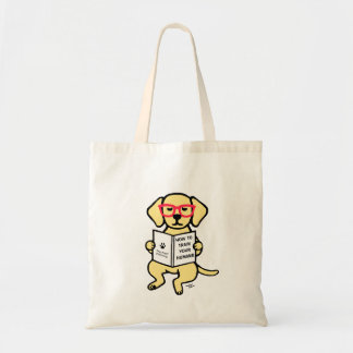 Hipster Yellow Labrador Puppy Budget Tote Bag