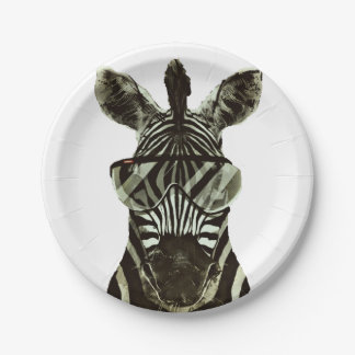 Hipster Zebra 7 Inch Paper Plate