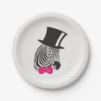 Hipster Zebra with Fancy Tall Hat and a Pink Bow. Paper Plate