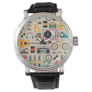 Hipsterrific Hipster Things Pattern (Cinereous) Watch