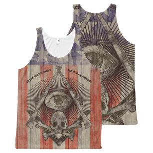Hiram Abiff Freemason with American colours All-Over Print Tank Top