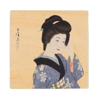 Hirano Hakuho's Young Girl Maple Wood Coaster