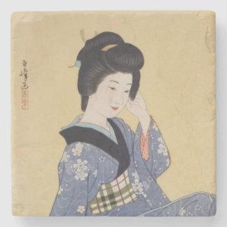 Hirano Hakuho's Young Girl Stone Coaster